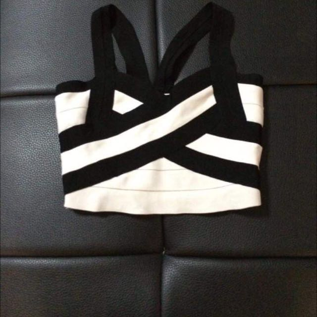 Black and White Bandage Crop