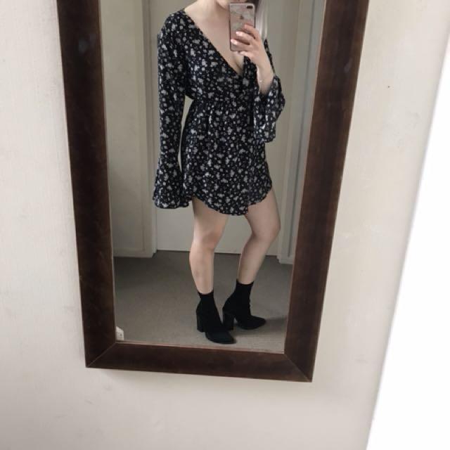 Black dress with flower pattern