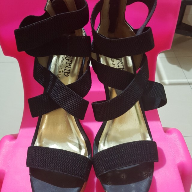 Black strappy wedge shoes