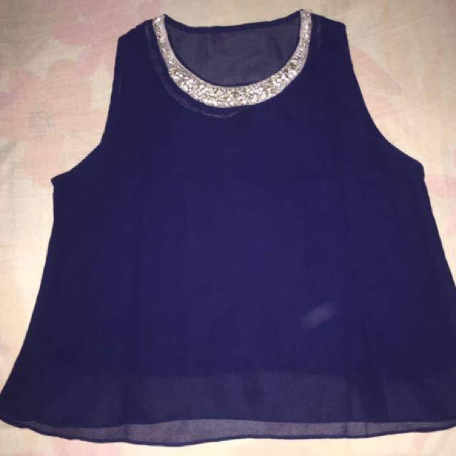Blue crop top blouse