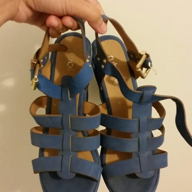 Blue Ruby High Wedge Heels