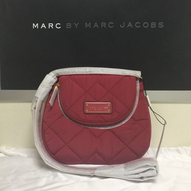 5bb857f085623 BN Authentic Marc Jacobs Quilted Nylon Mini Messenger Bag crimson ...