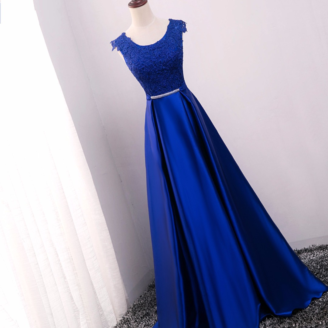 ace7aa3f28c  Brand New  Michelle Royal Blue satin evening gown Wedding gown Instock