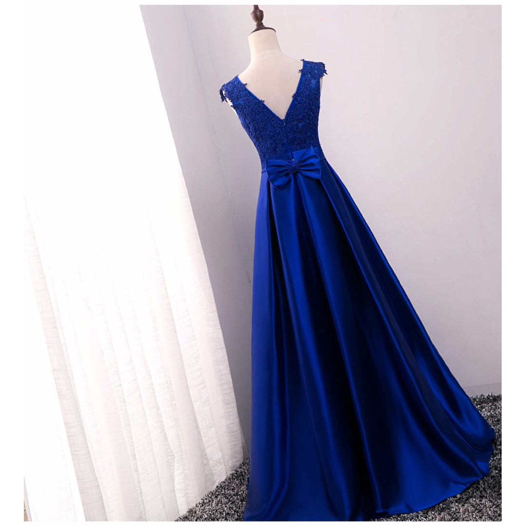 brand new* michelle royal blue satin evening gown/wedding