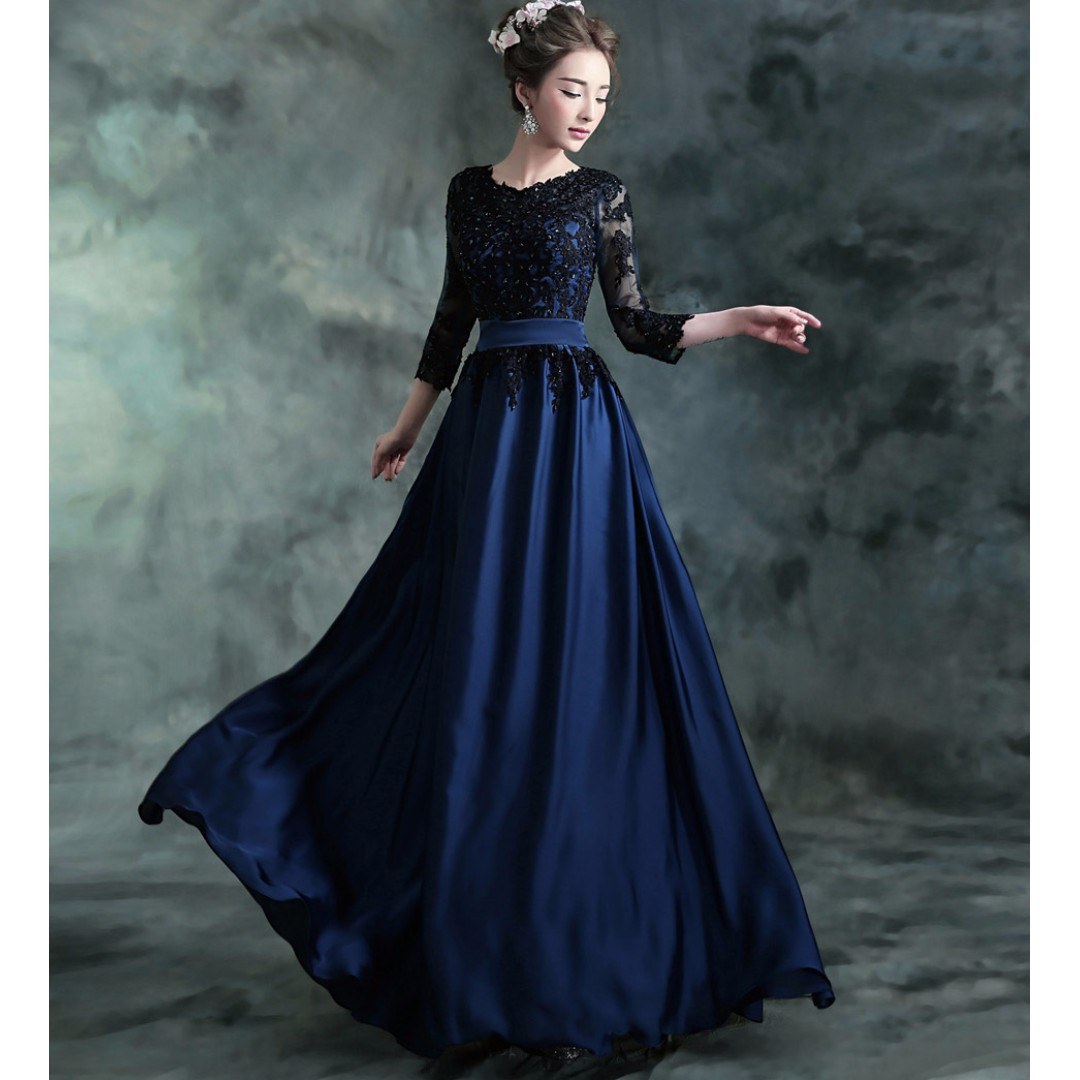 Long sleeve Dark blue Wedding dress/evening