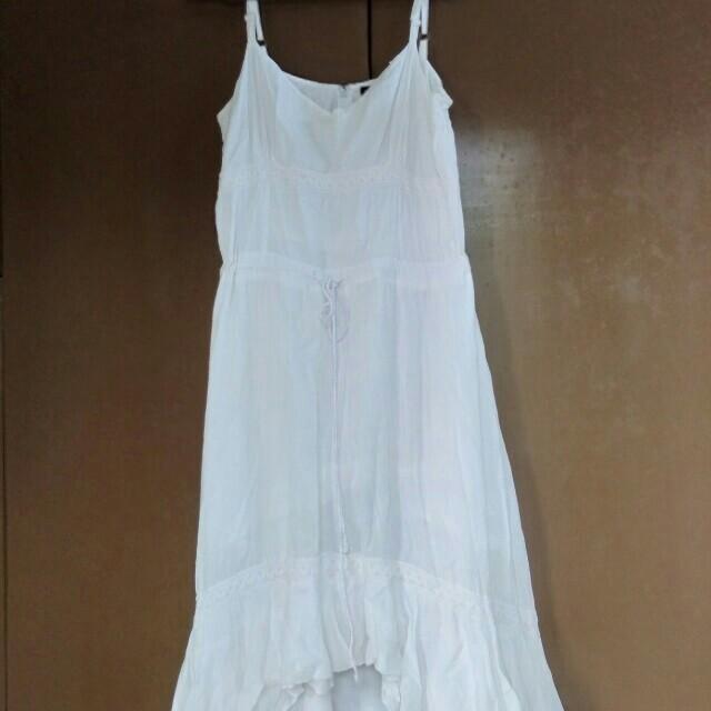 Casual White Spaghetti-Strapped Dress