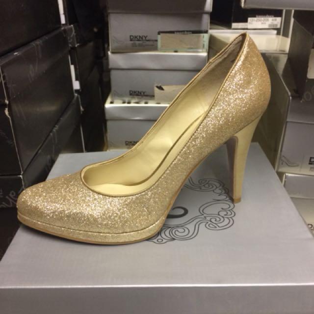 Cinderella gold sparkle shoes