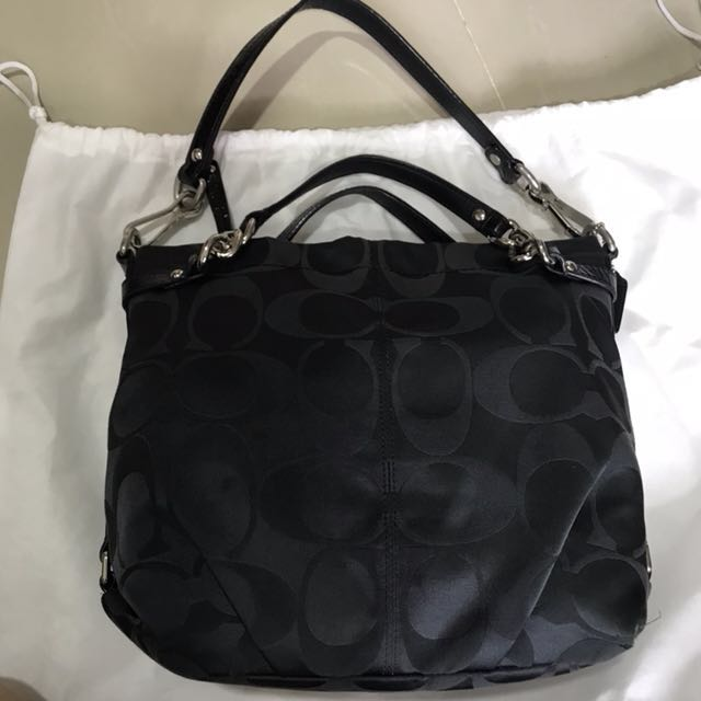 Coach Signature Sateen Brooke Shoulder Hobo Handbag