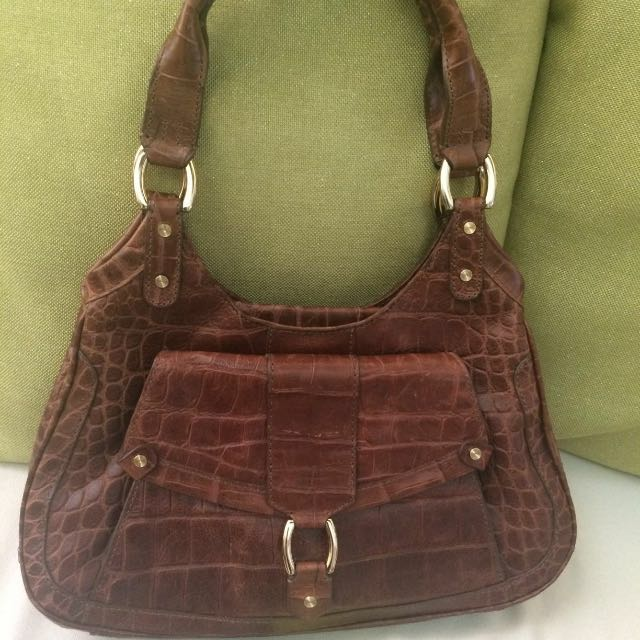 Cole Haan Crocodile Skin Brown Bag