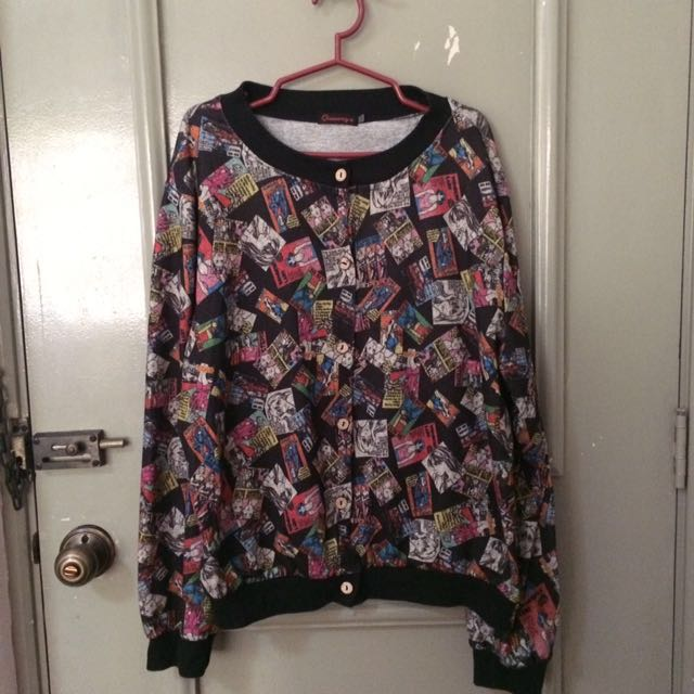 Comic Book Printed Cotton Bomber Jacket (Plus Size)
