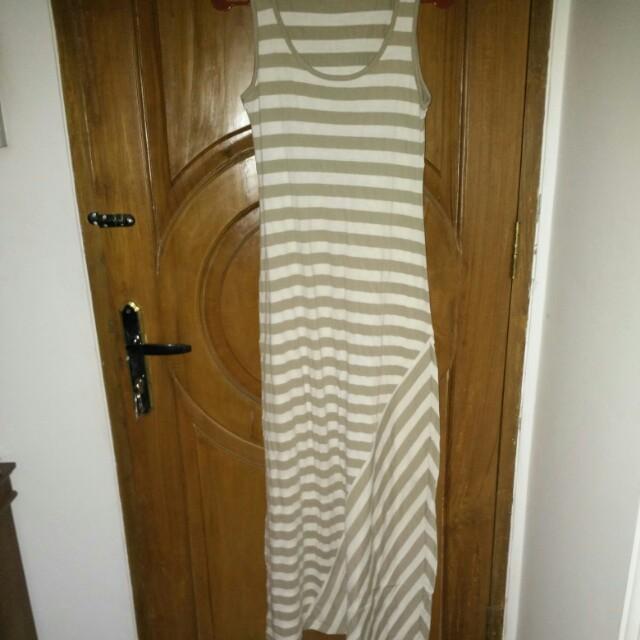 Contempo Stripe Dress (Nude)