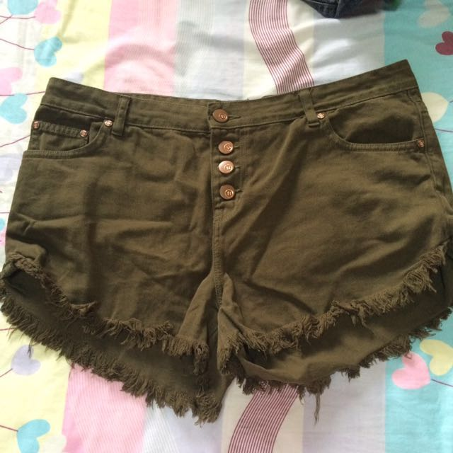 Cotton On Army Green Midrise Shorts (Plus Size)