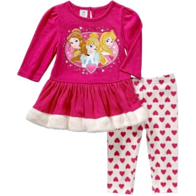 Disney Princess Baby Girl Tulle Trim Dress & Tights Outfit