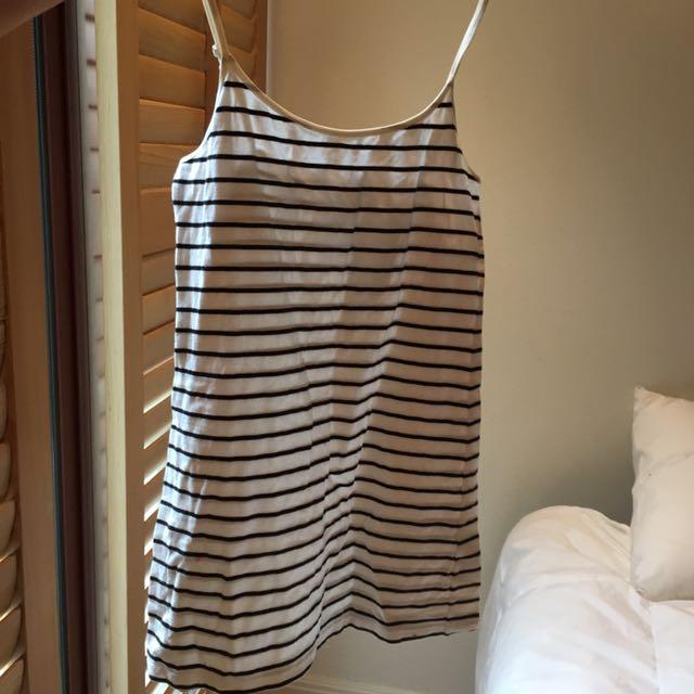Divided striped summer slip dress