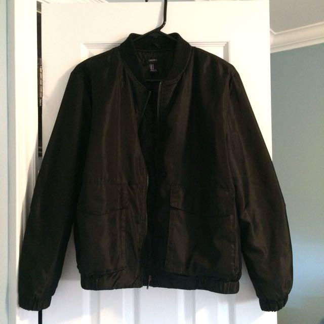 F21 Black Bomber Jacket