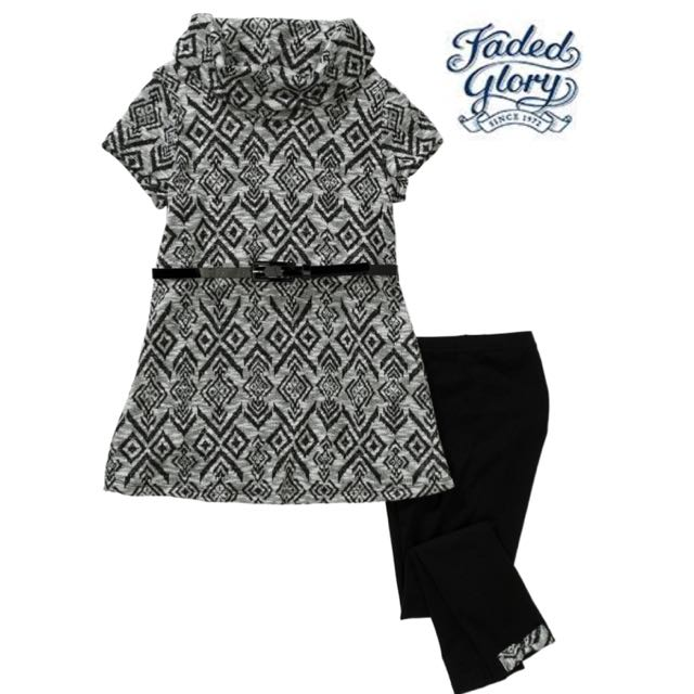 Faded Glory Girls' Cowl Neck Belted and Leggings Set