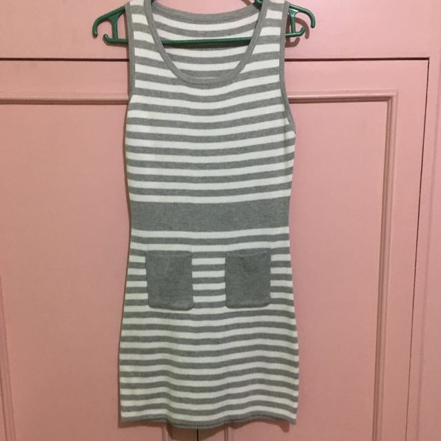 Fitted Gray Stripe Dress