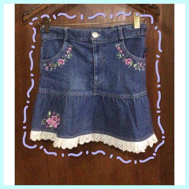Flower Jeans Skirt