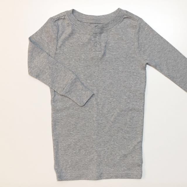 Gap Kids 童裝 男童女童純棉長袖T恤上衣 灰色110cm