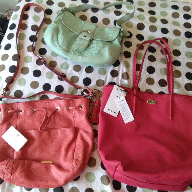 Get 3 authentic bags. Coach and Lacoste Summer bag