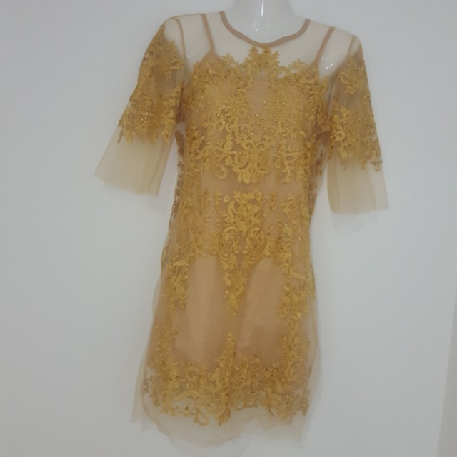 Gold mesh dress with embellishment