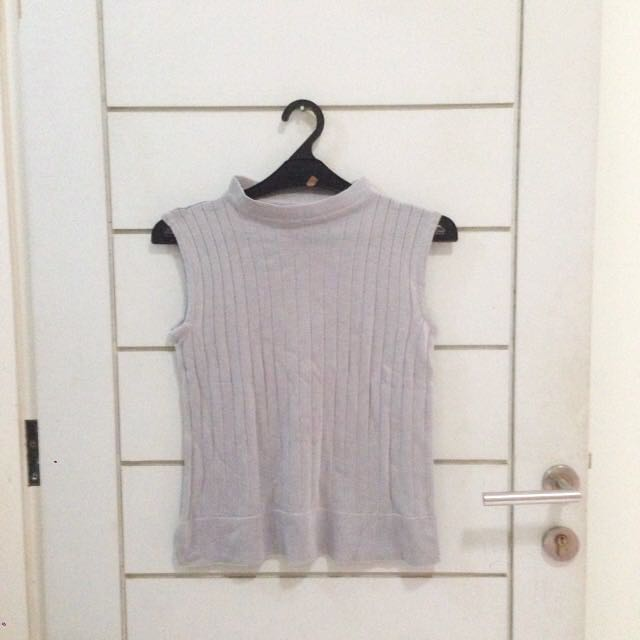 Grey Turtleneck Tank Knitwear Blouse
