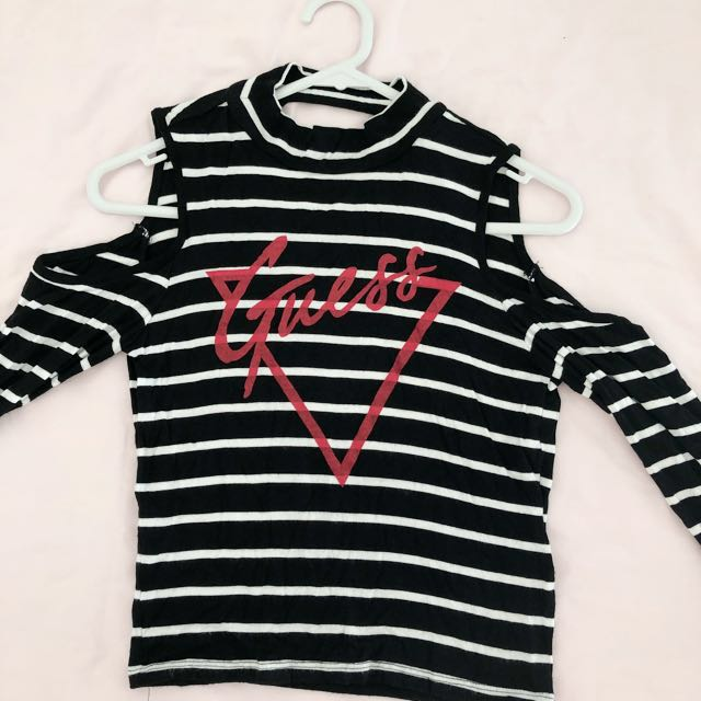 Guess stripe off-shoulder t-shirt