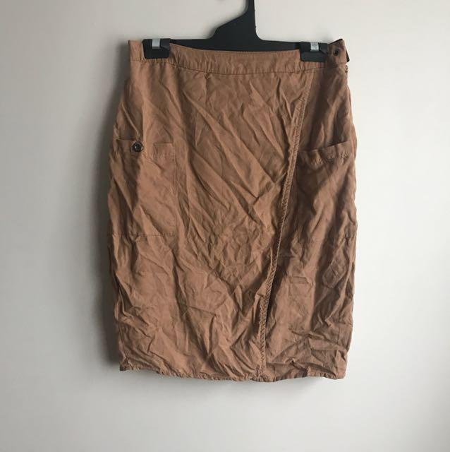 High Waisted Slit Brown Skirt