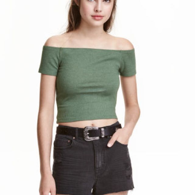 5e511661e222 H M Army Green Off Shoulder Crop Top Tee