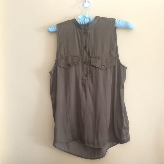 H&M Olive Green Button Down Sleeveless