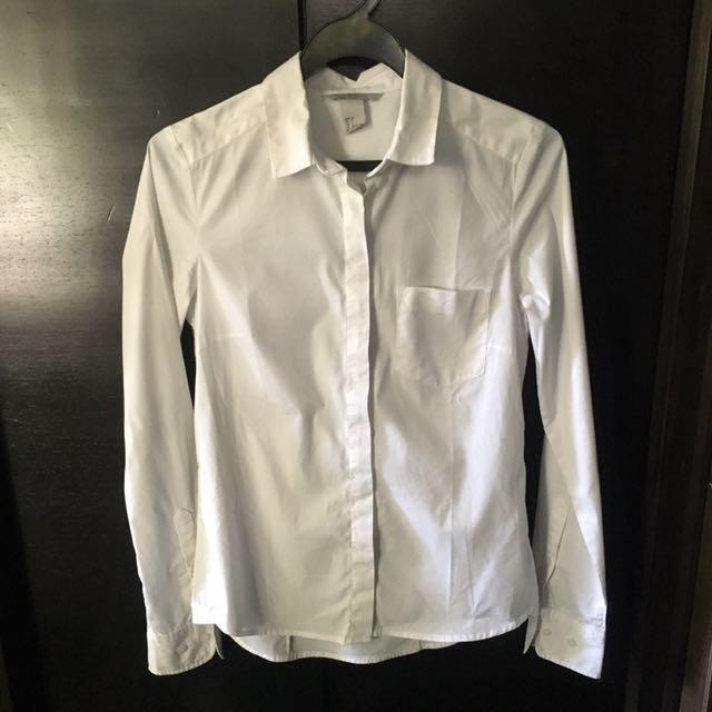 5e4ef2ef5e28f H&M women's white office work shirt - size 32, Women's Fashion ...