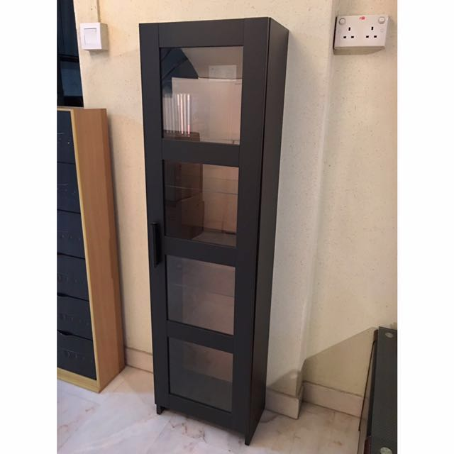 Ikea Brimnes Glass Door Cabinet Black Furniture Shelves