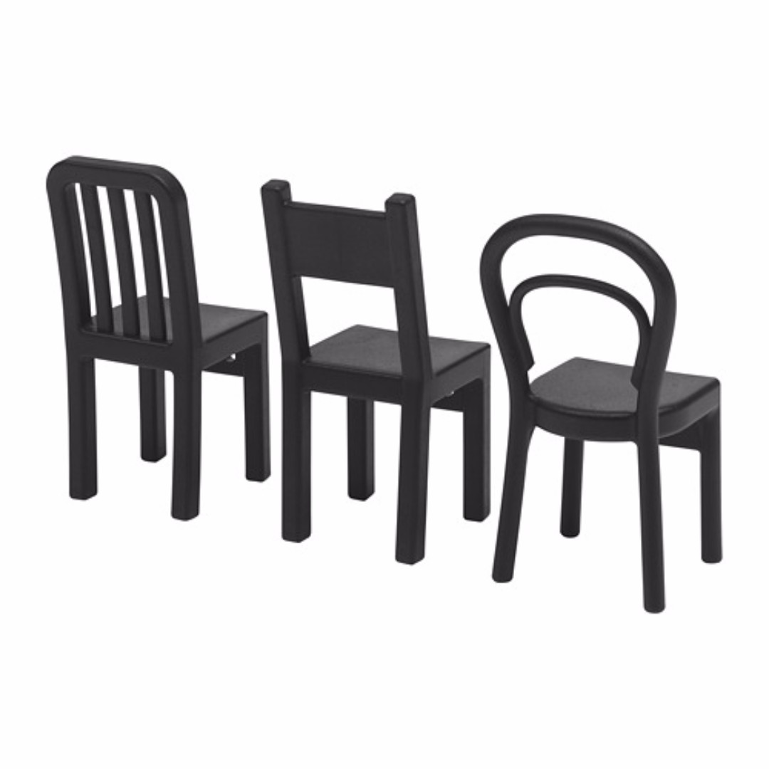 IKEA FJANTIG Pengait serbaguna model kursi warna hitam isi 3 pieces