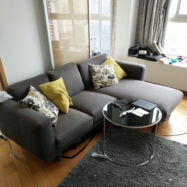 Ikea NORSBORG 3 seat sofa with chaise longue and 4 cushions Home
