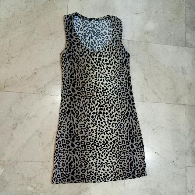 Sexy Animal Print / Cheetah / Jaguar / Dalmatian / Polka dots print knee length cocktail short cotton sleeveless dress (brown & beige)