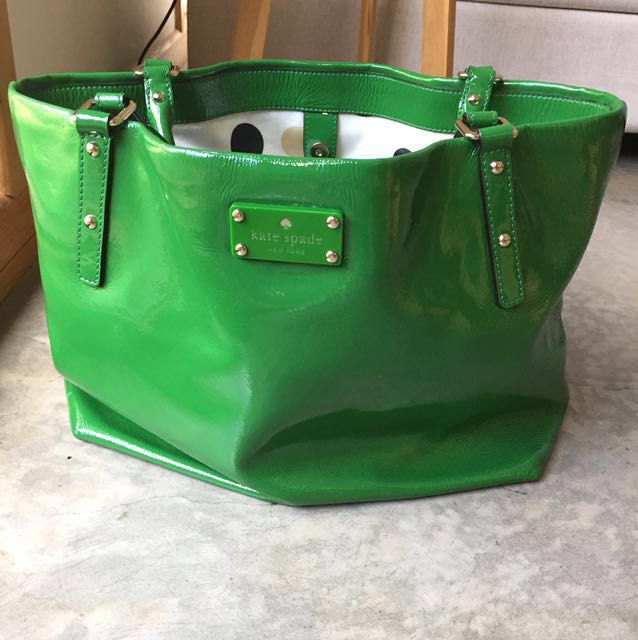 KATE SPADE NY SOPHIE Patent Leather Green Tote Bag