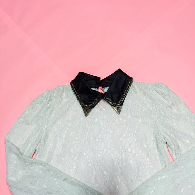 Lace Polo With leather collar
