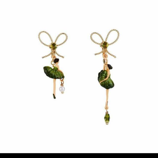 全新的Les Néréides芭蕾舞伶耳環~蝴蝶結寶石