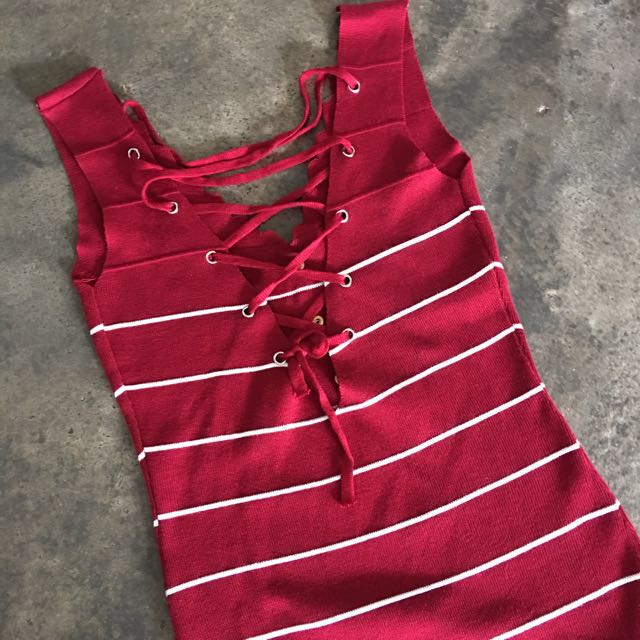 Maroon Crisscross Dress