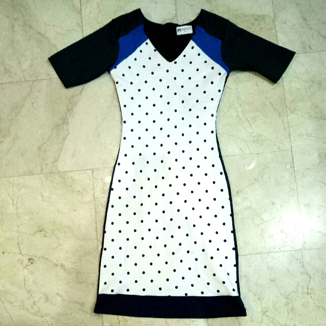 Mini Polka dots white & navy blue dress with three fourths sleeve & zipper cotton fabric (formal / casual / office / business wear) bodyfit & sexy yet classy