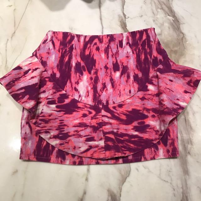 Mini Skort Bahan Jeans Corak Pink