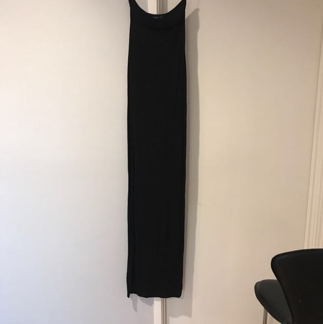 Misguided black tight maxi strapless sweetheart neckline