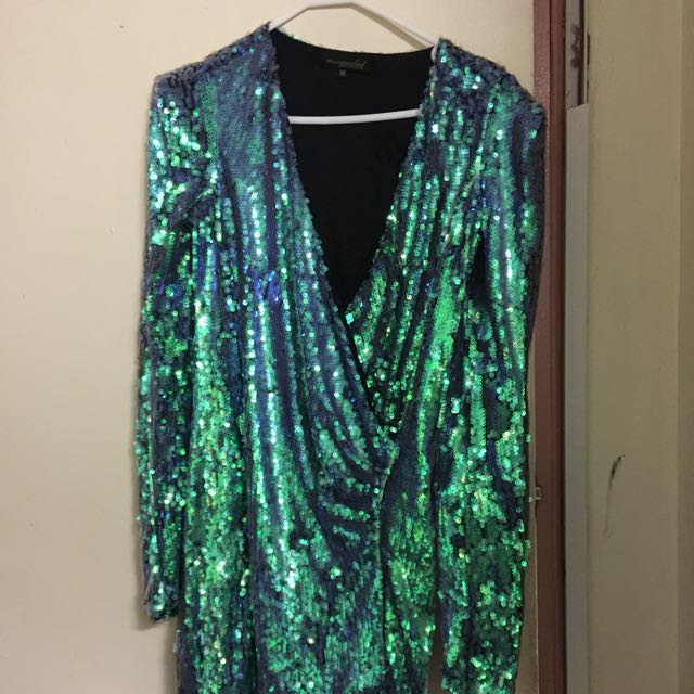 Missguided - Green/Blue/Aqua Sequence 80s Dress - $100 ONO
