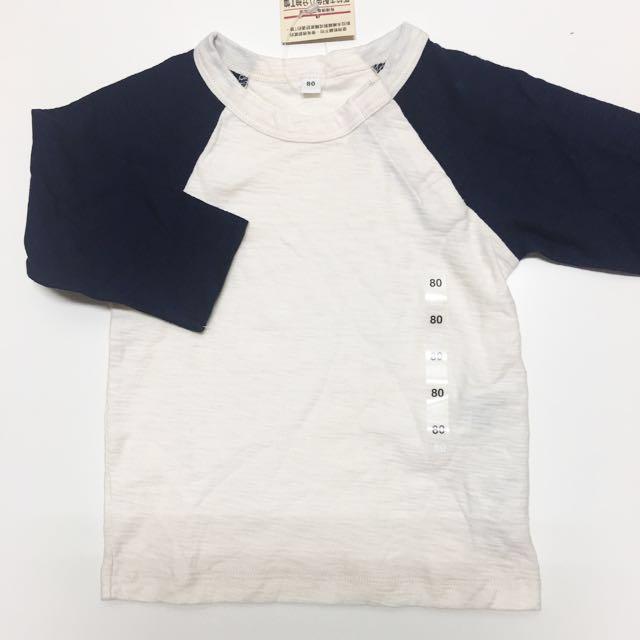 MUJI無印良品童裝 幼兒有機棉兒童服裝 八分袖T恤長袖上衣 深藍80cm