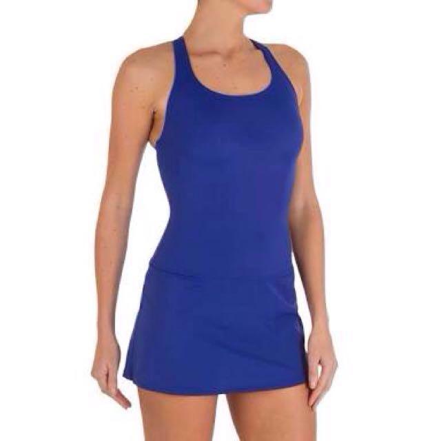 Navy Blue One Piece Skort Swimsuit