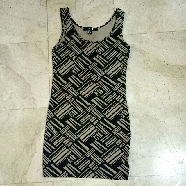 Original FOREVER 21 F21 Body fit Bamboo / Aztec / Stripes print short / mini SPANDEX dress (brown & beige /black) STRETCHABLE & FLEXIBLE ANY SIZE 😍😍