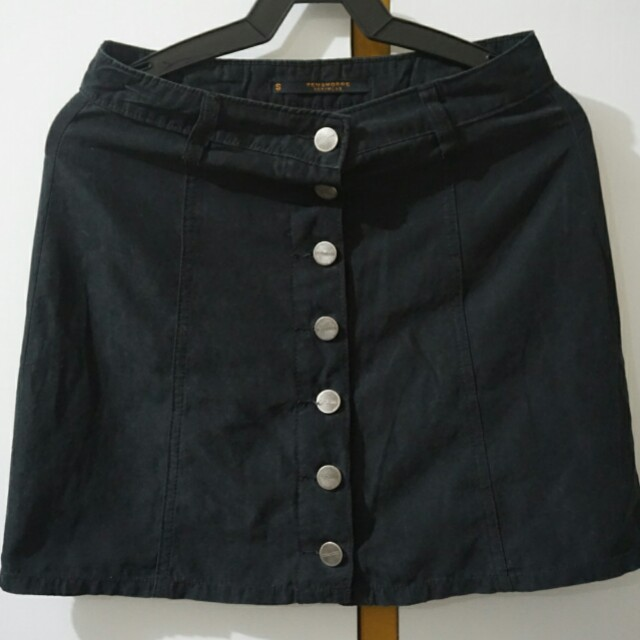 Penshoppe: Black button down skirt