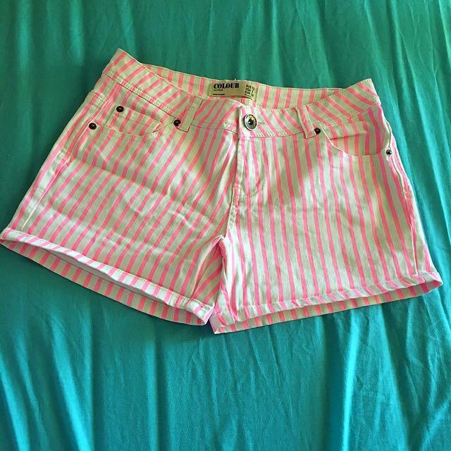 Pink & white short pant
