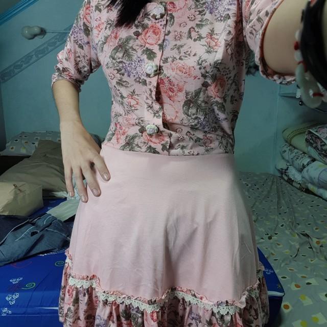 Pink floral cute dress