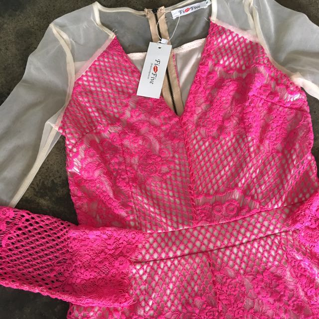 Pink Lace & Mesh Romper